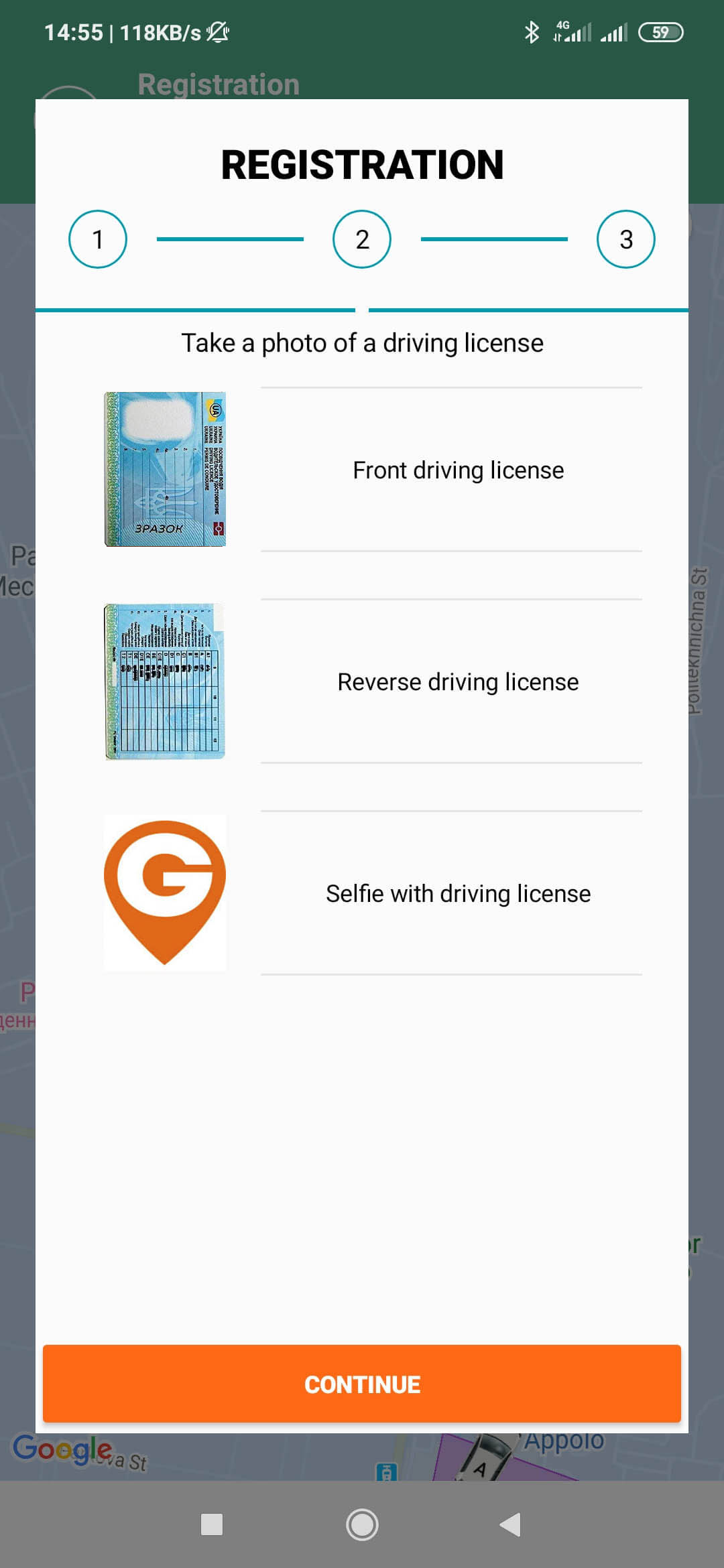 Adding photos of a driver's license in the Getmancar app